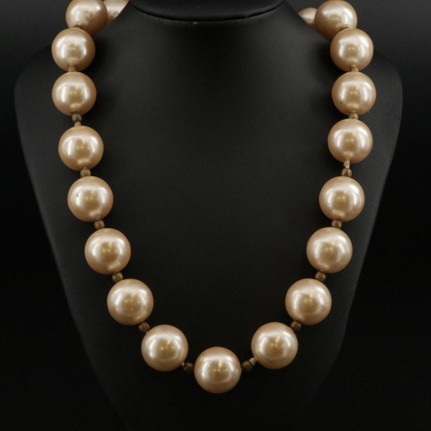 Ugo Correani Graduated Faux Pearl Necklace