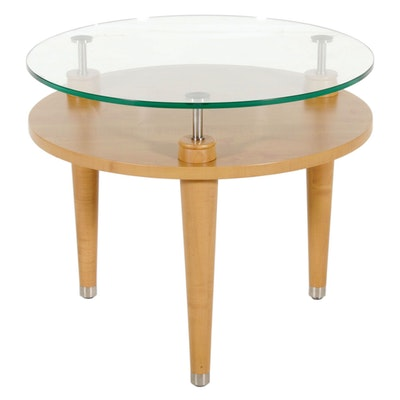 Contemporary Glass Top  Round Table