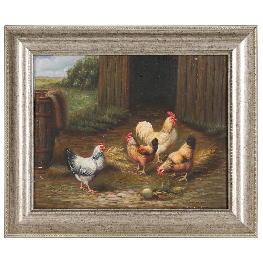 Poultry Genre Oil Painting in the Style of Edgar Hunt