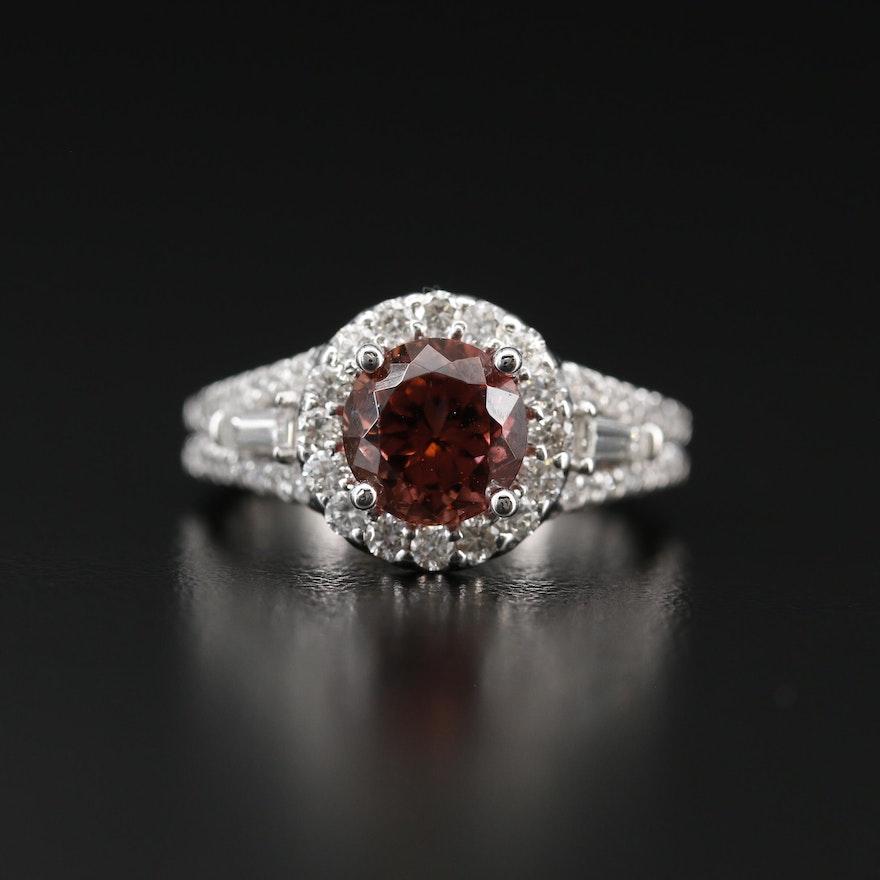 14K Tourmaline Ring with 1.35 CTW Diamond Halo