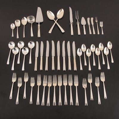 "Towle Sterling Silver ""Craftsman"" Flatware with Wooden Chest"
