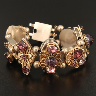 Vintage Reinad Purple Glass Slide Charm Bracelet