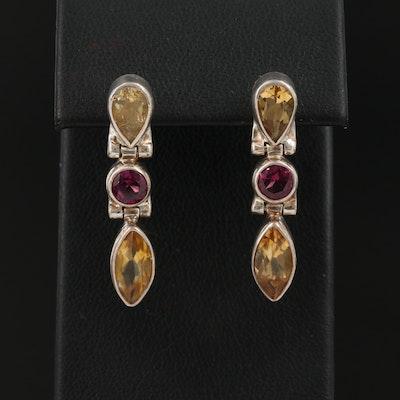 Sterling Silver Citrine and Rhodolite Garnet Dangle Earrings