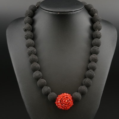 Lava Bead and Red Glass Necklace with Sterling Silver Clasp