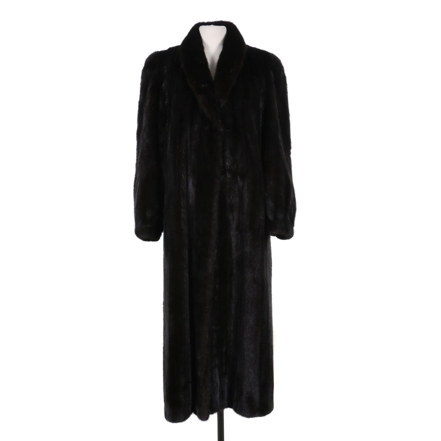Mary McFadden Mink Fur Coat with Banded Cuffs, Vintage