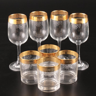 Gold Encrusted Etched Wine and Rocks Glasses