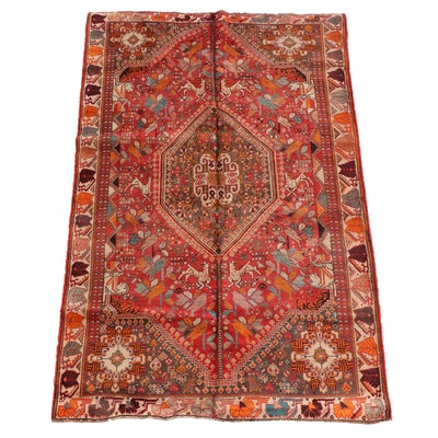 5'5 x 8'6 Hand-Knotted Persian Qashqai Wool Rug