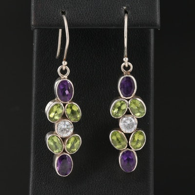Sterling Silver Amethyst, Peridot and Cubic Zirconia Earrings