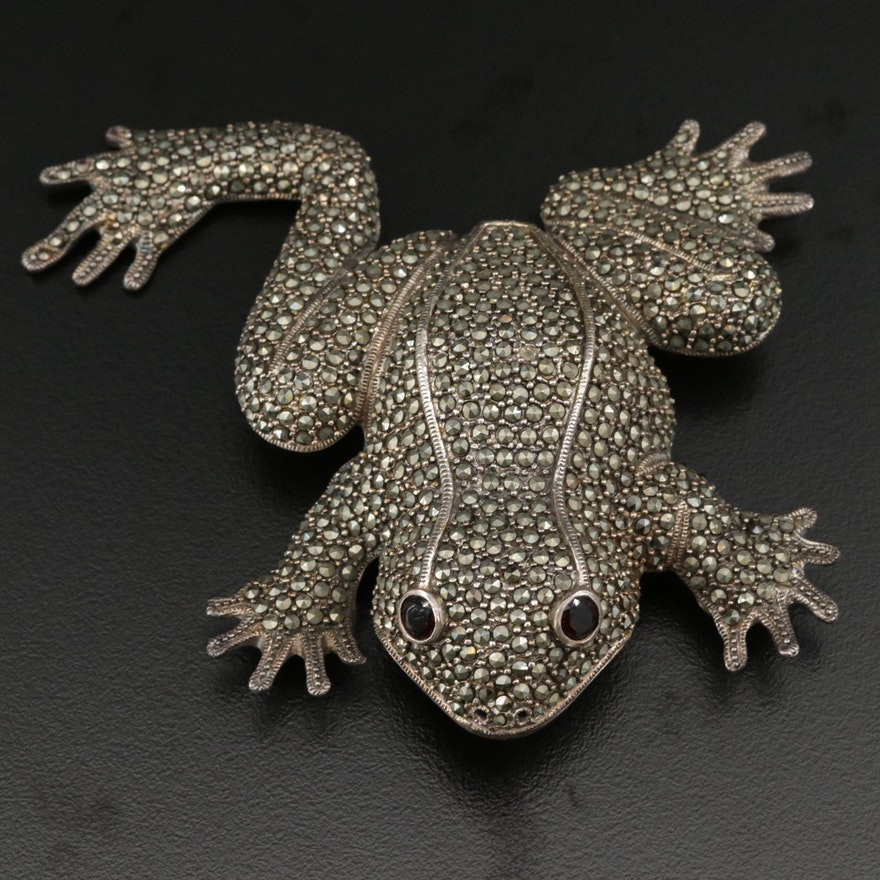 Sterling Silver Marcasite and Red Glass Frog Brooch