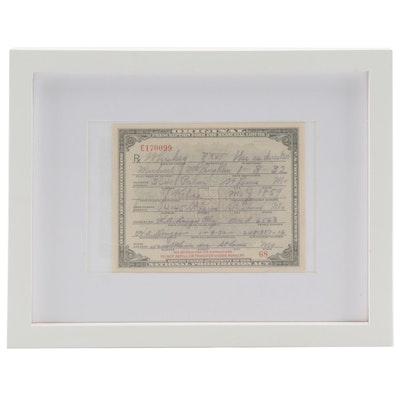 U.S. National Prohibition Act Prescription Form For Medicinal Liquor, 1932