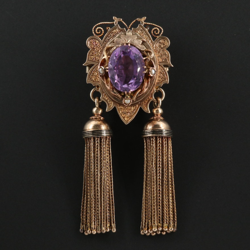 Victorian Etruscan Revival Amethyst Converter Locket Brooch with Tassels