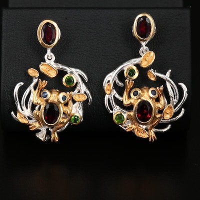 Sterling Silver Garnet, Diopside and Blue Sapphire Earrings Featuring Frog Motif