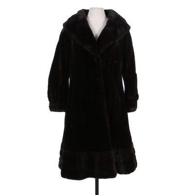 Mahogany Mink Fur Swing Coat with Banded Cuffs, Mid to Late 20th Century