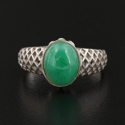 14K Gold Jadeite Openwork Ring