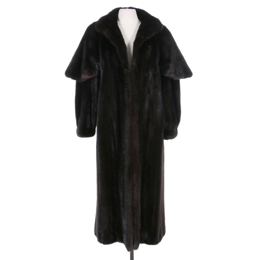 Mahogany Mink Fur Caped Sleeve Coat with Banded Cuffs, Vintage