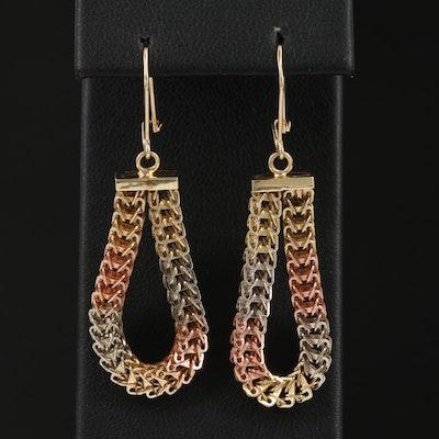 14K Tri-Color Chain Link Hoop Earrings
