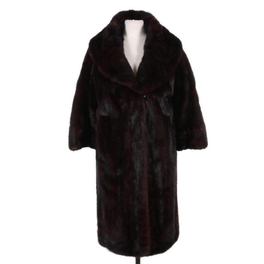 Mahogany Mink Fur Shawl Collar Coat, 1950s Vintage