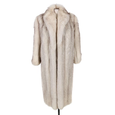 Saga Fox Blue Fox Fur Full Pelt Coat, Late 20th Century