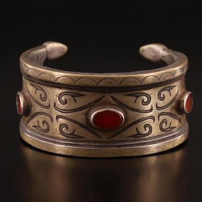 Turkman Style 800 Silver Carnelian Cuff Bracelet