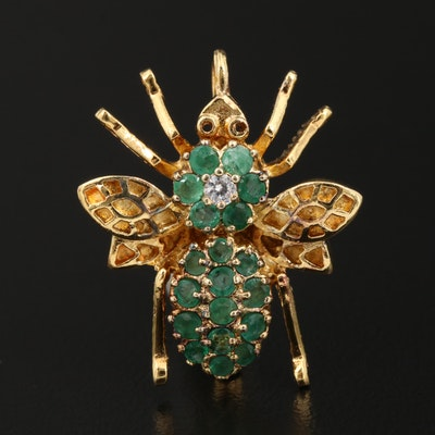 Sterling Silver Emerald and Cubic Zirconia Insect Brooch
