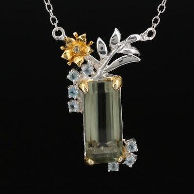 Sterling Silver Quartz and Topaz Pendant Necklace Featuring Floral Motif