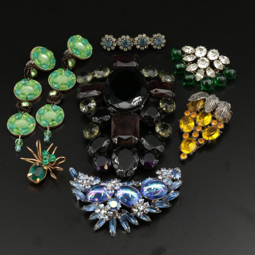 Vintage Glass Costume Jewelry Featuring Depose Fur Clips