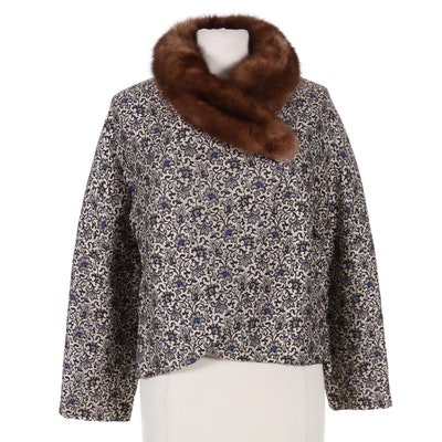 Christian Rupert Wrap-Front Brocade Crop Jacket with Sable Fur Collar