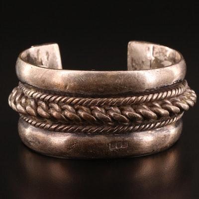 Vintage Egyptian 800 Silver Cuff Bracelet