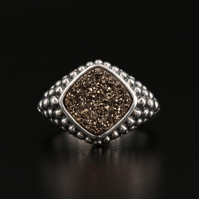Michael Dawkins Sterling Silver Druzy Bead Ring