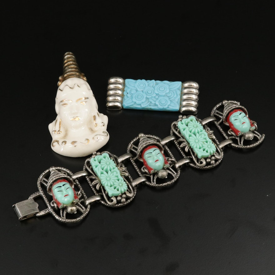 """1960s Selro Selini """"Thai Girl"""" Bracelet with Vintage Brooches"""