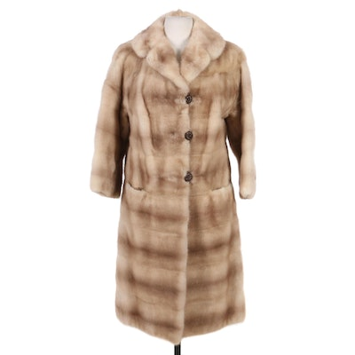 Blond Mink Fur Coat with Horizontal Pelts, Vintage