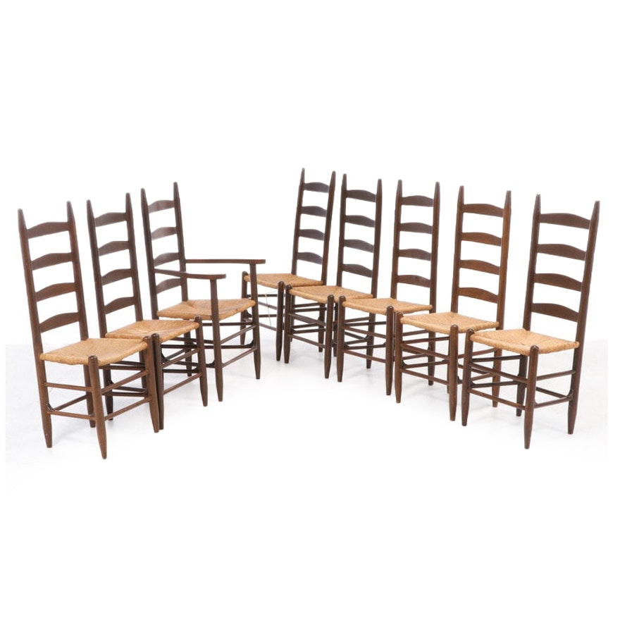 Eight American Primitive Ladderback Dining Chairs, 20th Century