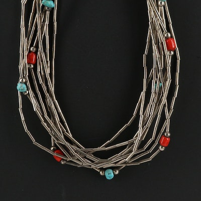 Turquoise and Glass Bead Ten Strand Necklace