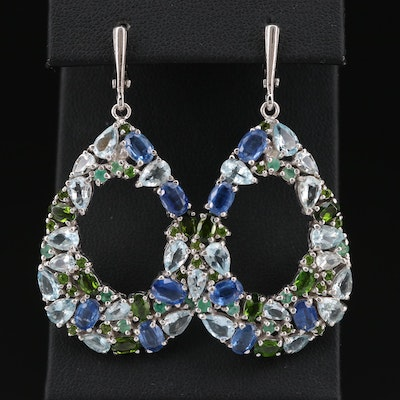 Sterling Dangle Earrings with Kyanite, Emerald, Diopside and Aquamarine