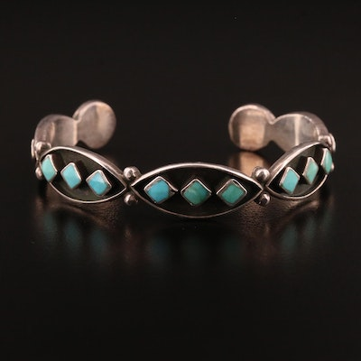 Western Sterling Silver Turquoise Cuff