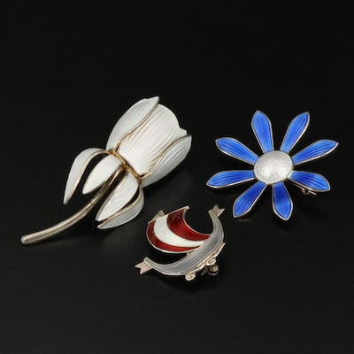 Norwegian Aksel Homsen Floral and Norwegian Ship Brooches