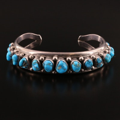 Western Style Sterling Silver Turquoise Cuff Bracelet