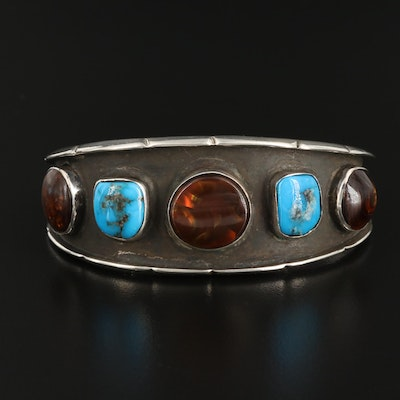 Sterling Silver Fire Agate and Turquoise Cuff