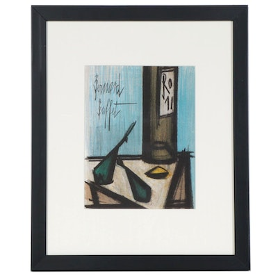 "Bernard Buffet Color Lithograph ""Still Life with a Bottle"", 1967"