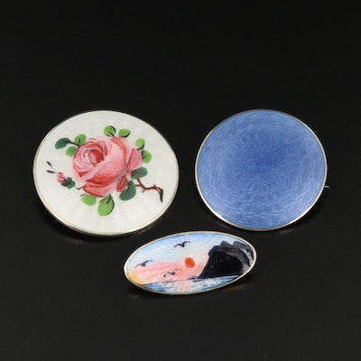 Antique and Vintage Sterling Silver Guilloché Enamel Brooches