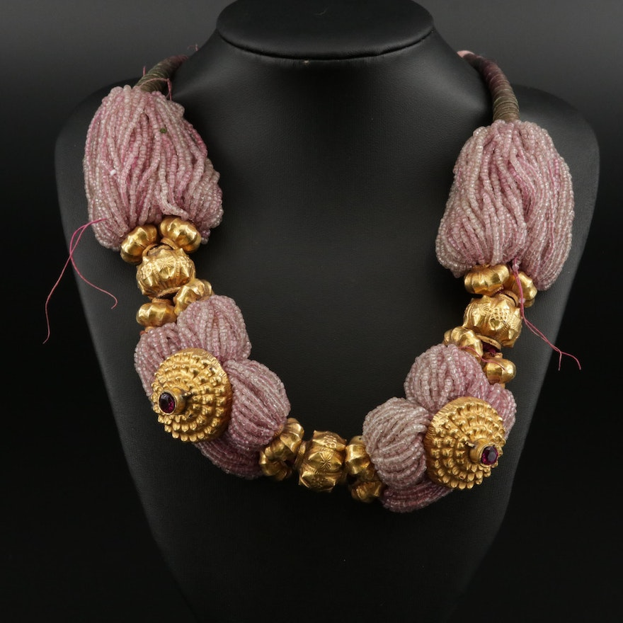 Ruby and Glass Multi-Strand Necklace