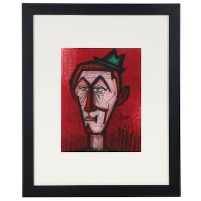 "Bernard Buffet Color Lithograph ""The Clown on a Red Background"", 1967"