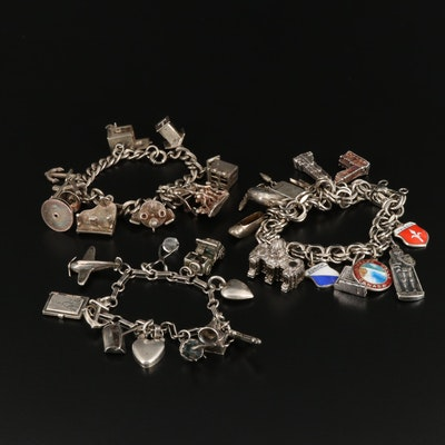 Sterling and 800 Silver Charm Bracelets with Travel and Articulated Charms