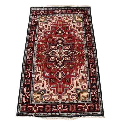 2'11 x 5'3 Hand-Knotted Indo-Persian Heriz Serapi Rug, 2010s