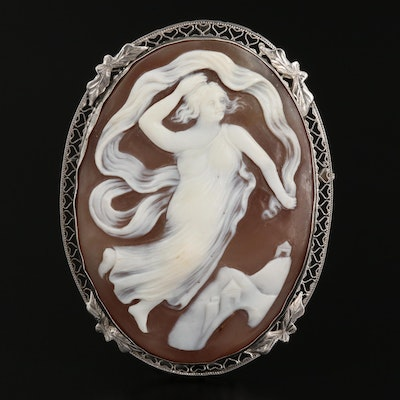 Early 1900s 14K Carved Shell Dancing Greek Goddess Cameo Converter Brooch
