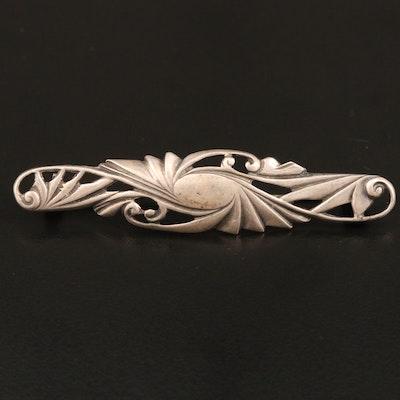 Vintage Sterling Silver Retro Style Bar Brooch