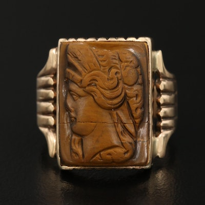 Victorian 10K Carved Tiger's Eye Cameo Ring