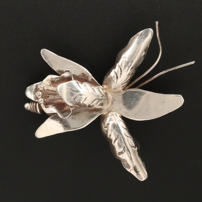 Mexican Sterling Silver Floral Brooch