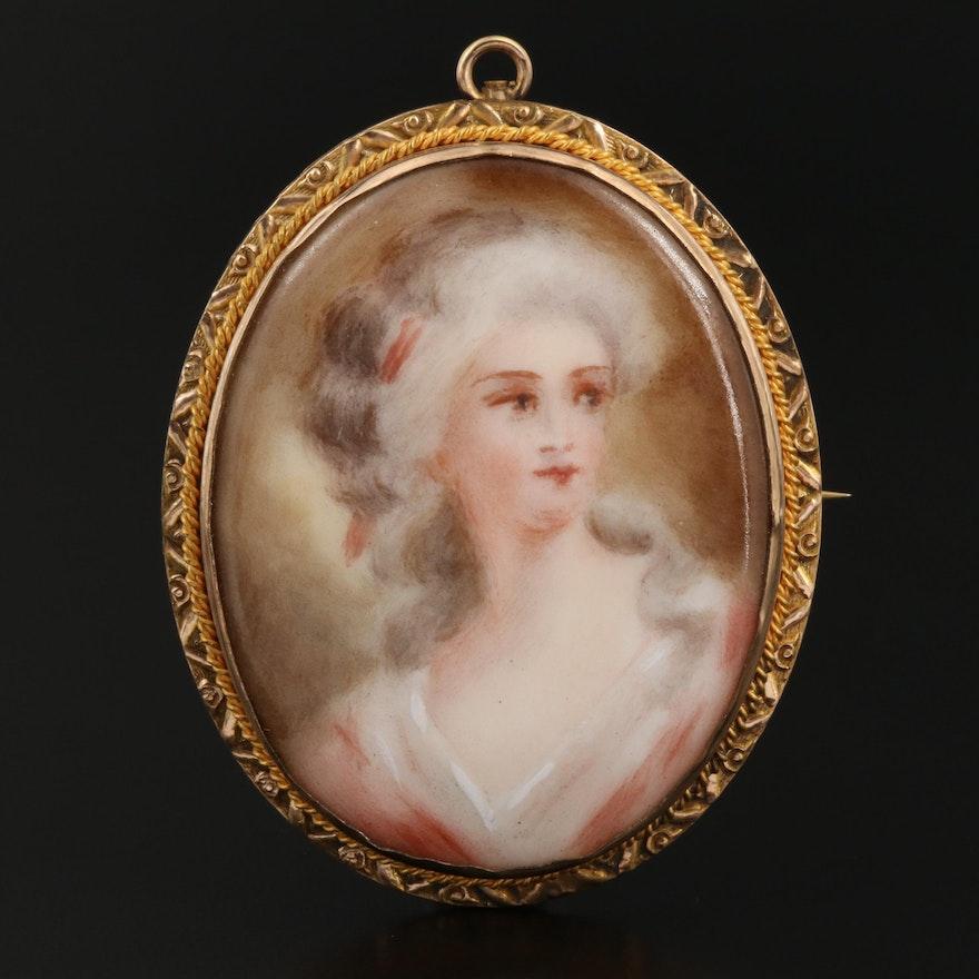 Vintage Porcelain Portrait Converter Brooch