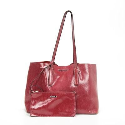 Miu Miu Tote Bag and Pochette in Red Crackle Glazed Leather